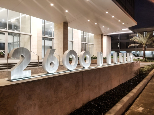 2600 Douglas Evening View Entrance